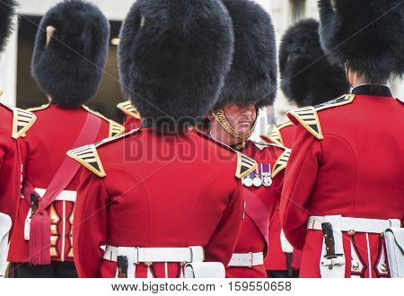 London, the UK - May 2016: Royal guards at Whitehall