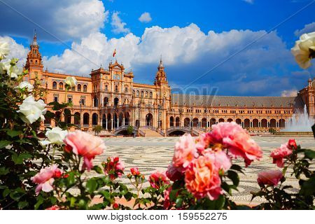 Seville Sevilla Plaza de Espana in Andalusia Spain square exterior image shot from public floor