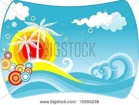 Tropical abstract background with palms and sunset. Vector version also available