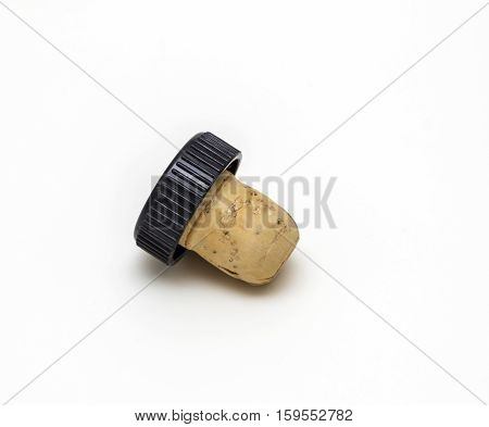 Corks from wine bottles on white background