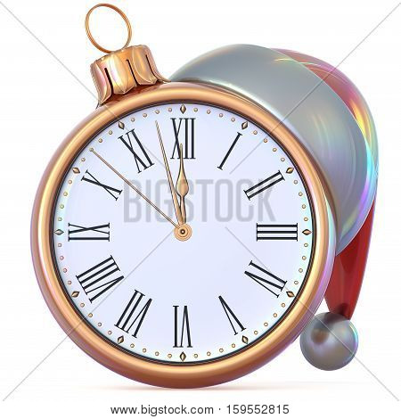 New Year's Eve clock golden Christmas ball midnight hour countdown time Santa Claus hat decoration ornament adornment. Traditional happy wintertime holiday future beginning pressure. 3d illustration