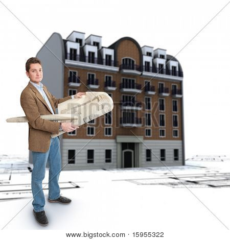 An architect, blueprints and an old classical urban building on the background