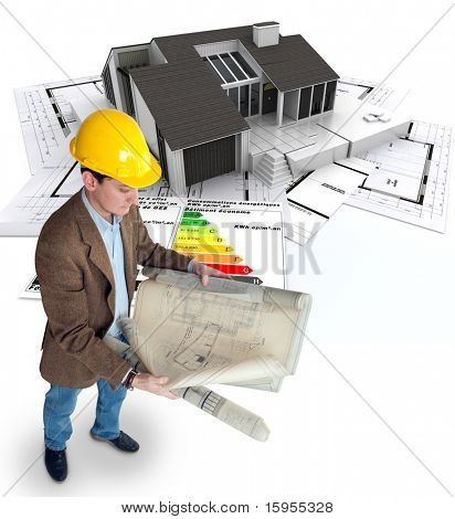 Architect , blueprints a house and an energy efficiency chart