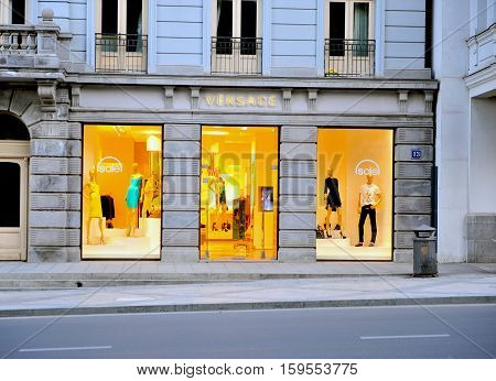 TBILISI GEORGIA - SEPTEMBER 27: Facade of flagship Versace store in the shopping street of Tbilisi on September 27 2015. Tbilisi is the capital and largest city of Georgia.