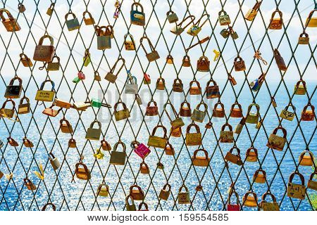 DUBROVNIK CROATIA - SEPTEMBER 22: This is a famous fence in Dubrovnik where couples come to leave locks on as a romantic gesture for eachother on September 22 2016 in Dubrovnik