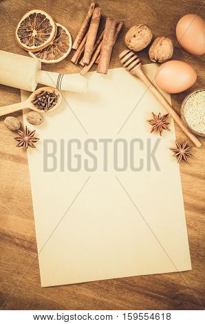 Empty Paper For Recipe Of Christmas Baking. Culinary Background.