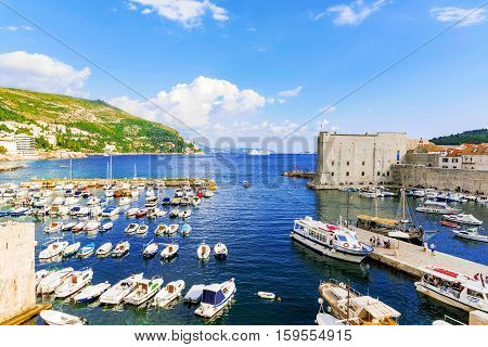 DUBROVNIK CROATIA - SEPTEMBER 22: This is a view of the Docks in Dubrovnik outside the castle walls on September 22 2016 in Dubrovnik