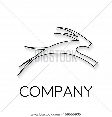 Vector sign abstract antelope in linear style