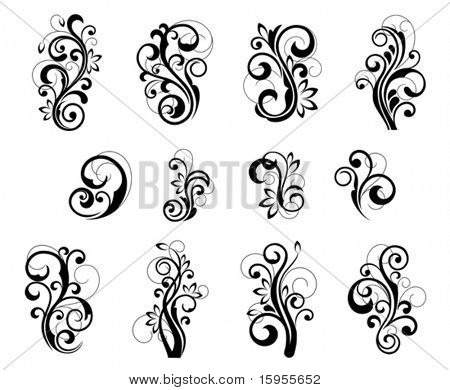 Floral patterns for design isolated on white. Jpeg version also available