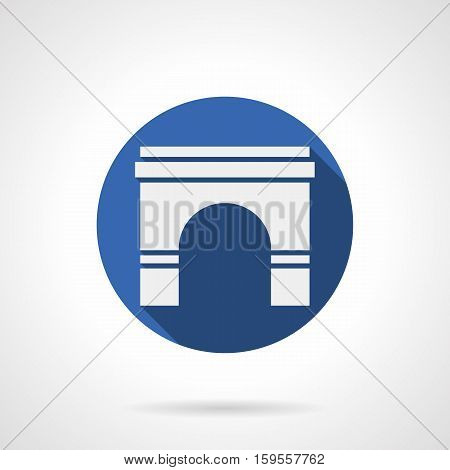 White silhouette sign of wall archway. Arches of classic shape. Architectural element of buildings, bridges construction, interior and entrance. Round blue flat design vector icon.