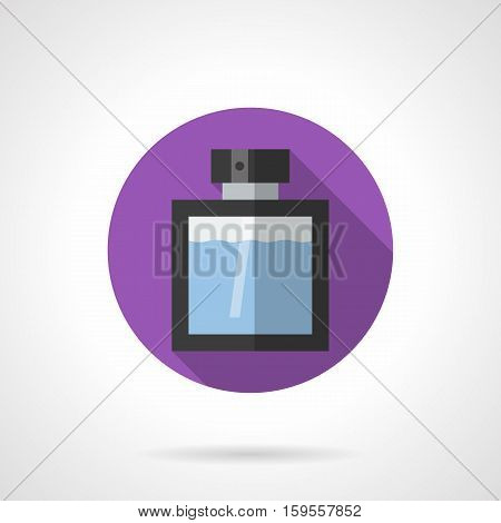 Elegant transparent glass bottle of male cologne with black decor. Perfumery and cosmetic products for men. Round purple flat design vector icon.