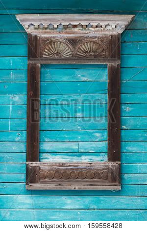 Window Carved Architraves Of An Old Traditional Wooden House In The Russian Village