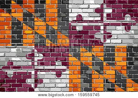 Maryland State Flag on a brick wall - Illustration,  Maryland Flag in brick style