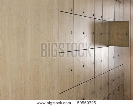 Open door in locker room at office