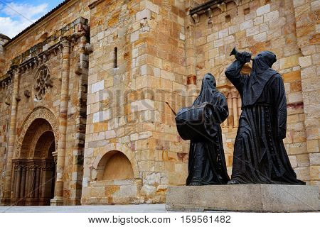 Nazarenos statues at Zamora San Juan church in Plaza Mayor at spain