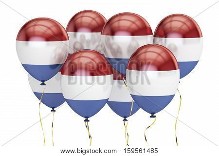 Balloons with flag of Netherlands holyday concept. 3D rendering isolated on white background