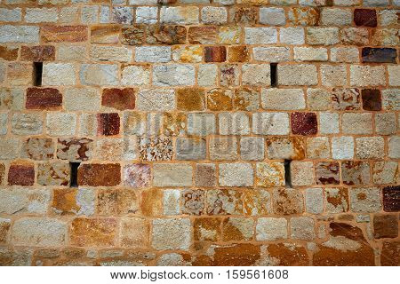 Zamora stone masonry wall texture detail in Spain