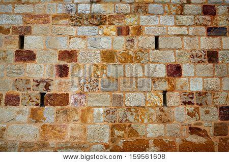 Zamora stone masonry wall texture detail in Spain