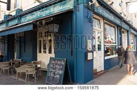 London England-November 13 2016 : The dining room Duke of Wellington located in Notting hill district on Portobello Road London UK.