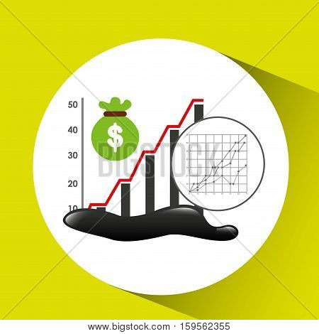 bag money graph oil industry growth diagram background vector illustration eps 10