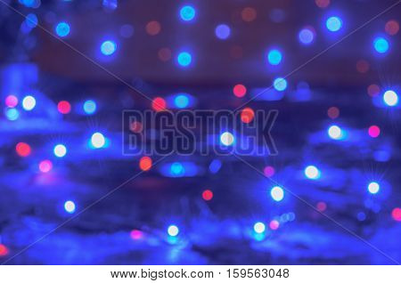 Christmas Lights Texture. Blue And Red Texture With Predominance Of Blue Color.