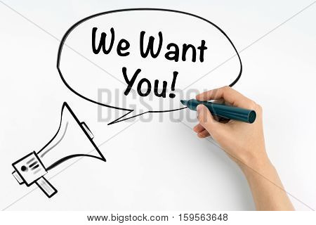 We Want You. Megaphone and text on a white background