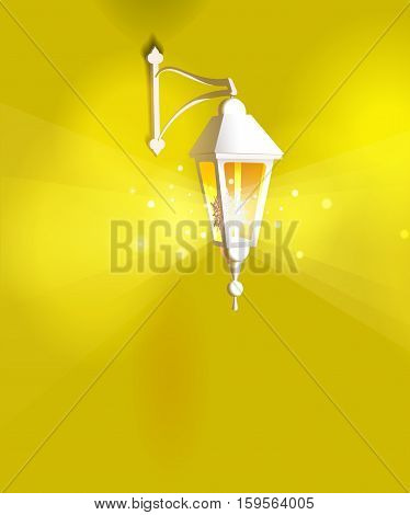Street lanterns. Shining hanging glass lamps. Warm yellow light. Decorations for greeting or invitation card. Vector illustration.