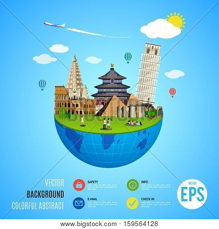 World landmarks concept. Vector illustration for travel design. Famous ancient symbol icon. Tourism city place culture architecture. Italy, Chine, USA, Egypt, Mexico, Asia. Cartoon trip tour monument.