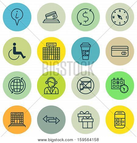 Set Of Traveling Icons On Hotel Construction, Appointment And Accessibility Topics. Editable Vector Illustration. Includes Math, Disabled, Paralyzed And More Vector Icons.