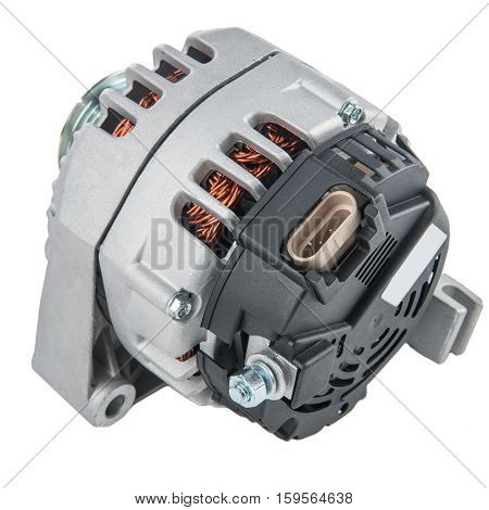 Power generator or alternator isolated on white background. Car engine parts.