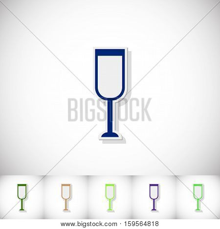 Glass of champagne. Flat sticker with shadow on white background. Vector illustration