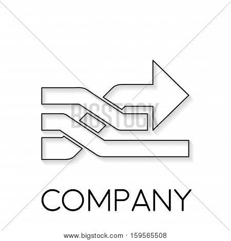 Vector sign abstract overtaking with arrow in linear style