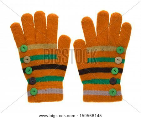 Knitted Gloves. Gloves Isolated On White Background. Gloves A Top View. Yellow Gloves And Green Stri