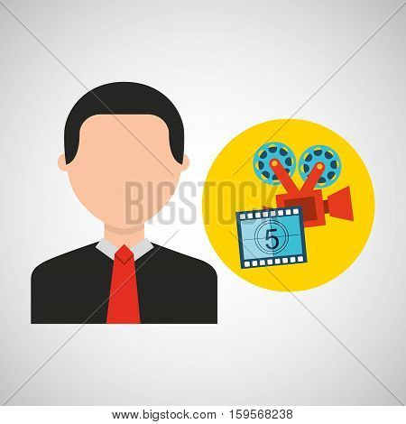 businessman movie camera film countdown strip icons vector illustration eps 10