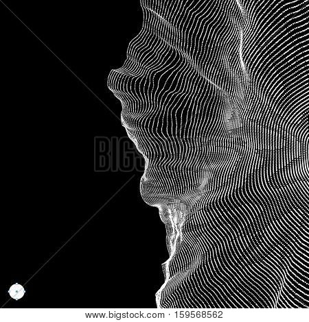Array with Dynamic Particles. 3D Technology Style. Abstract Background. Vector Illustration.