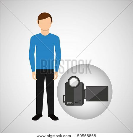 character man movie concept video camera vector illustration eps 10