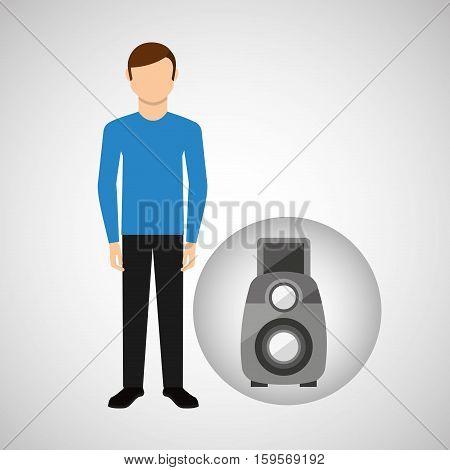 character man movie concept reflex camera vector illustration eps 10