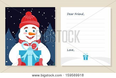 Template greeting card New year's or Merry Christmas letter to Dear Friend . Cute snowman with gift. Vector illustration. Modern flat design.