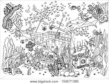 Sunken treasure. Wreck. Vector illustration. Doodle drawing. Meditative exercise. Coloring book anti stress for adults. Black and white.