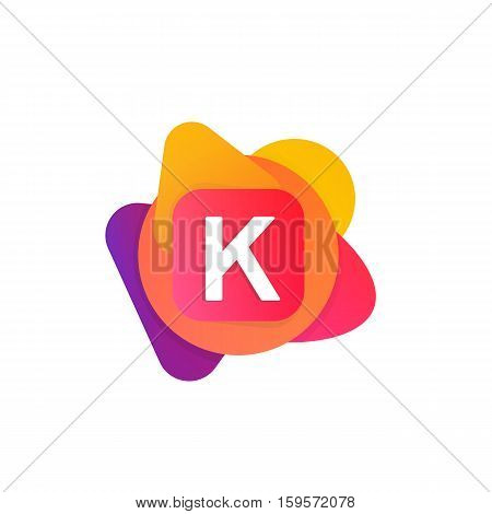 Abstract Fun Shape Elements Company Logo Sign Icon. K Letter Logotype Vector Design