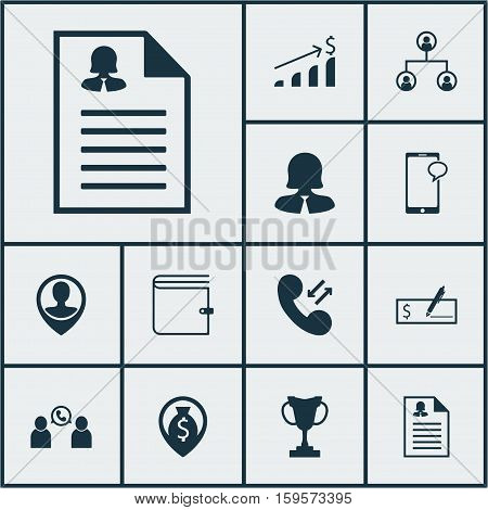 Set Of Human Resources Icons On Wallet, Cellular Data And Business Woman Topics. Editable Vector Illustration. Includes Bank, Mobile, Check And More Vector Icons.