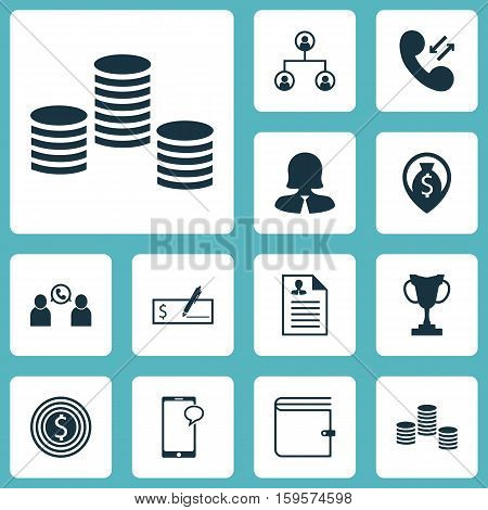 Set Of Hr Icons On Money, Wallet And Cellular Data Topics. Editable Vector Illustration. Includes Map, Male, Cash And More Vector Icons.