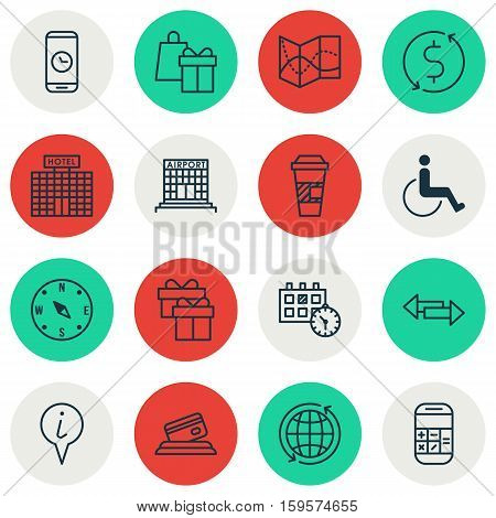 Set Of Traveling Icons On Takeaway Coffee, Shopping And Credit Card Topics. Editable Vector Illustration. Includes Calendar, Globe, Takeaway And More Vector Icons.