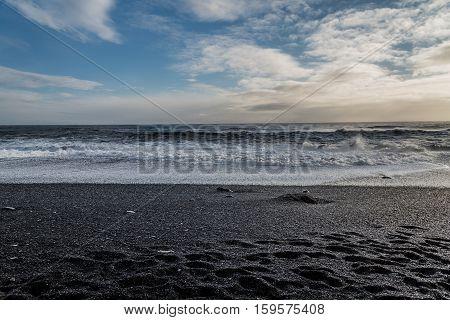 Reynisfjara or the black sand beach near the village called Vik i Myrdal, Iceland