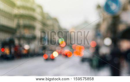 European travel Paris - Defocused view of Avenue de l'Opara in Paris France - one of the main avenue in French capital