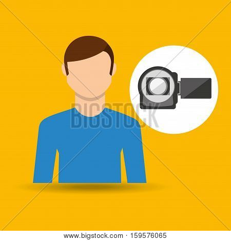 character man movie concept photo video camera vector illustration eps 10