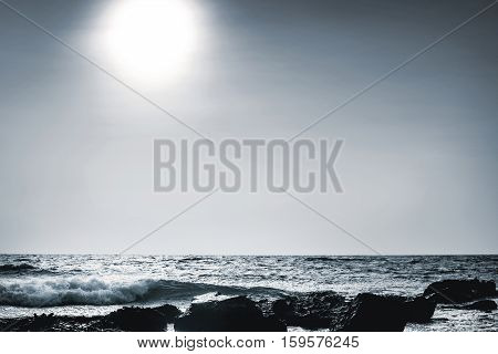 lunar sea shore at a stormy night