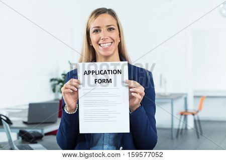 Application Form Shown By Woman