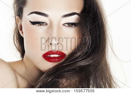 beautiful woman with red lips and black eyeliner closeup portrait