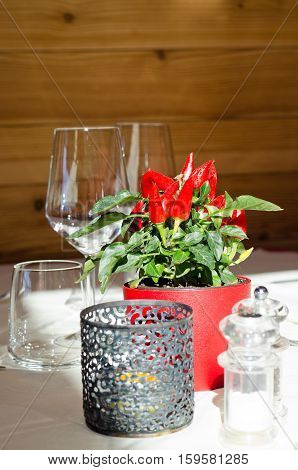 Table decoration in the restaurant with bright red pepper